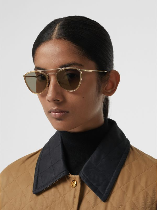 Glitter Detail Pilot Sunglasses in Gold - Women | Burberry - cell image 2