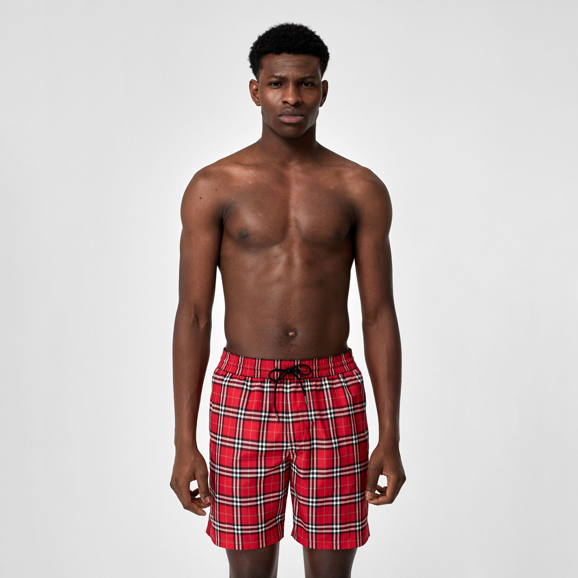 Check Drawcord Swim Shorts in Cadmium Red - Men | Burberry - gallery image 0