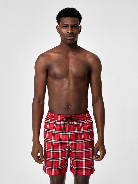 Check Drawcord Swim Shorts in Cadmium Red
