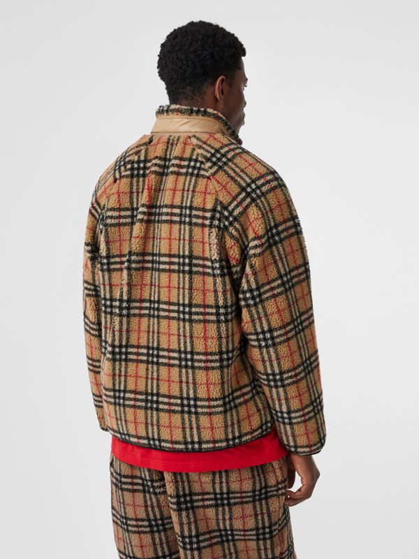 Vintage Check Faux Shearling Jacket in Archive Beige - Men | Burberry United Kingdom - cell image 2