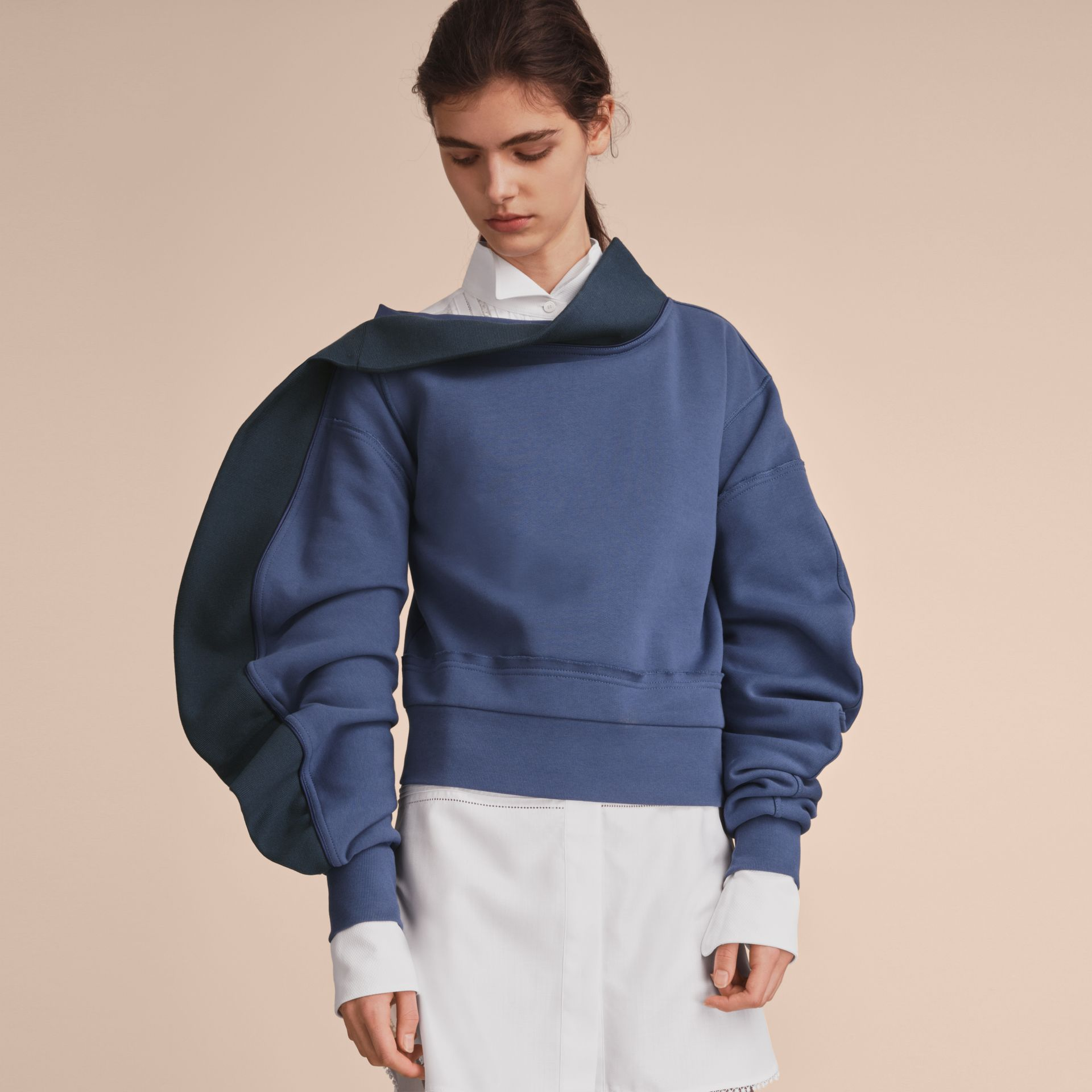 Sculptured-sleeve Asymmetric Sweatshirt Pewter Blue - gallery image 6