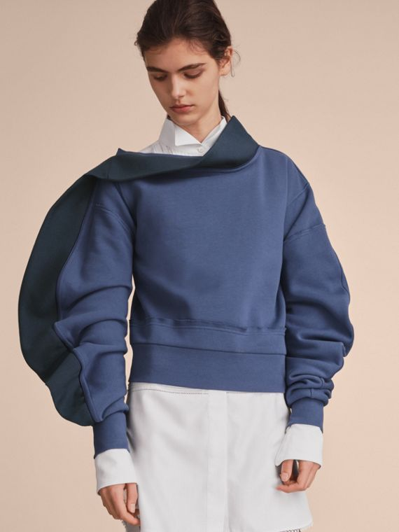 Sculptured-sleeve Asymmetric Sweatshirt Pewter Blue