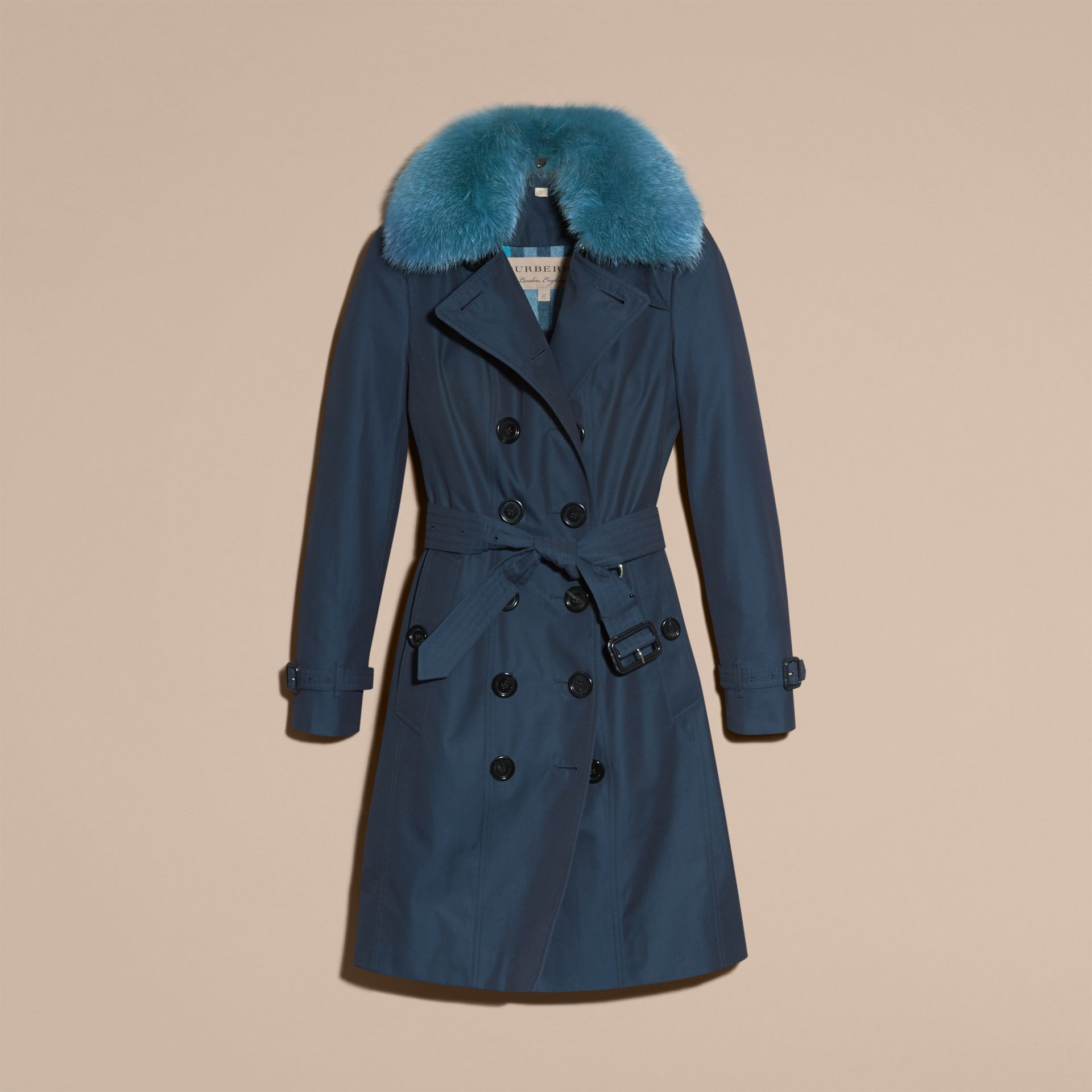 Teal blue Cotton Gabardine Trench Coat with Detachable Fur Collar and Warmer Teal Blue - gallery image 4