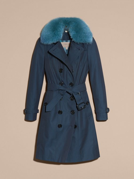 Teal blue Cotton Gabardine Trench Coat with Detachable Fur Collar and Warmer Teal Blue - cell image 3