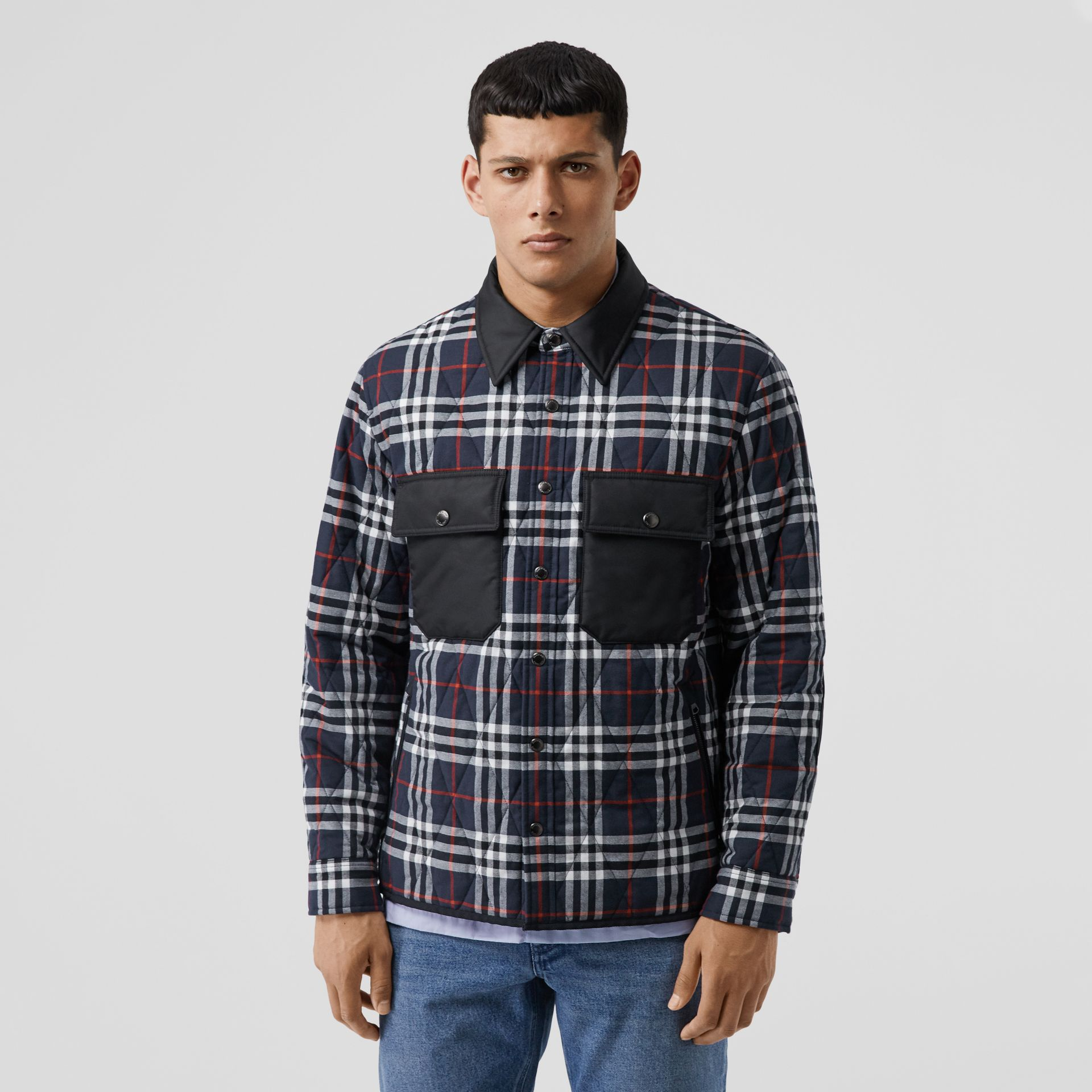 Quilted Check Cotton Flannel Overshirt in Navy - Men | Burberry - gallery image 4