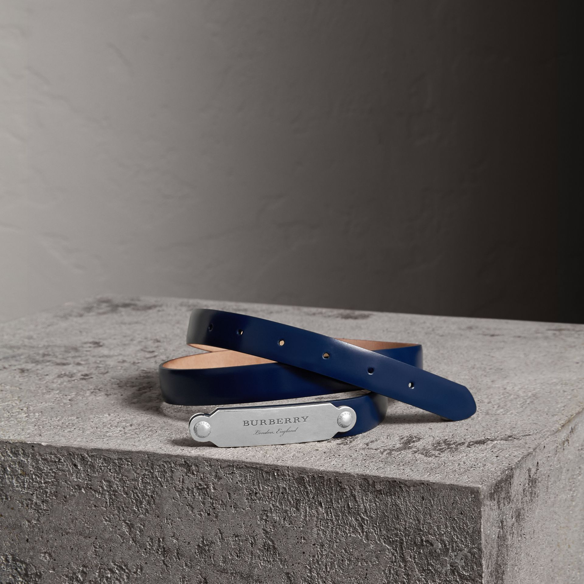Plaque Buckle Leather Belt in Canvas Blue - Women | Burberry Hong Kong - gallery image 0