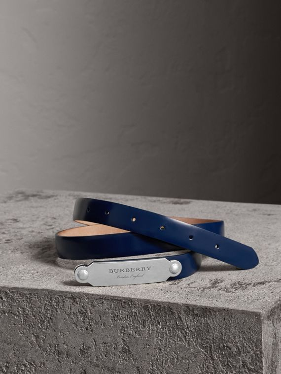 Plaque Buckle Leather Belt in Canvas Blue