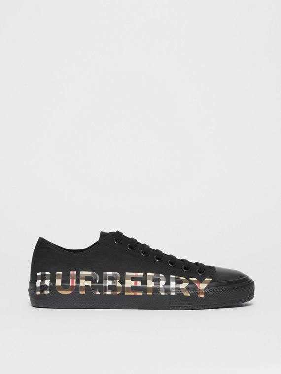 Sneaker in gabardine di cotone con logo e motivo Vintage check (Nero/beige Archivio)