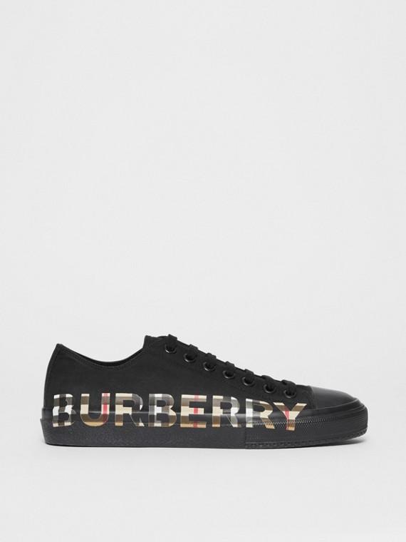 Vintage 格紋徽標印花棉質 Gabardine 運動鞋 (黑色/典藏米色)