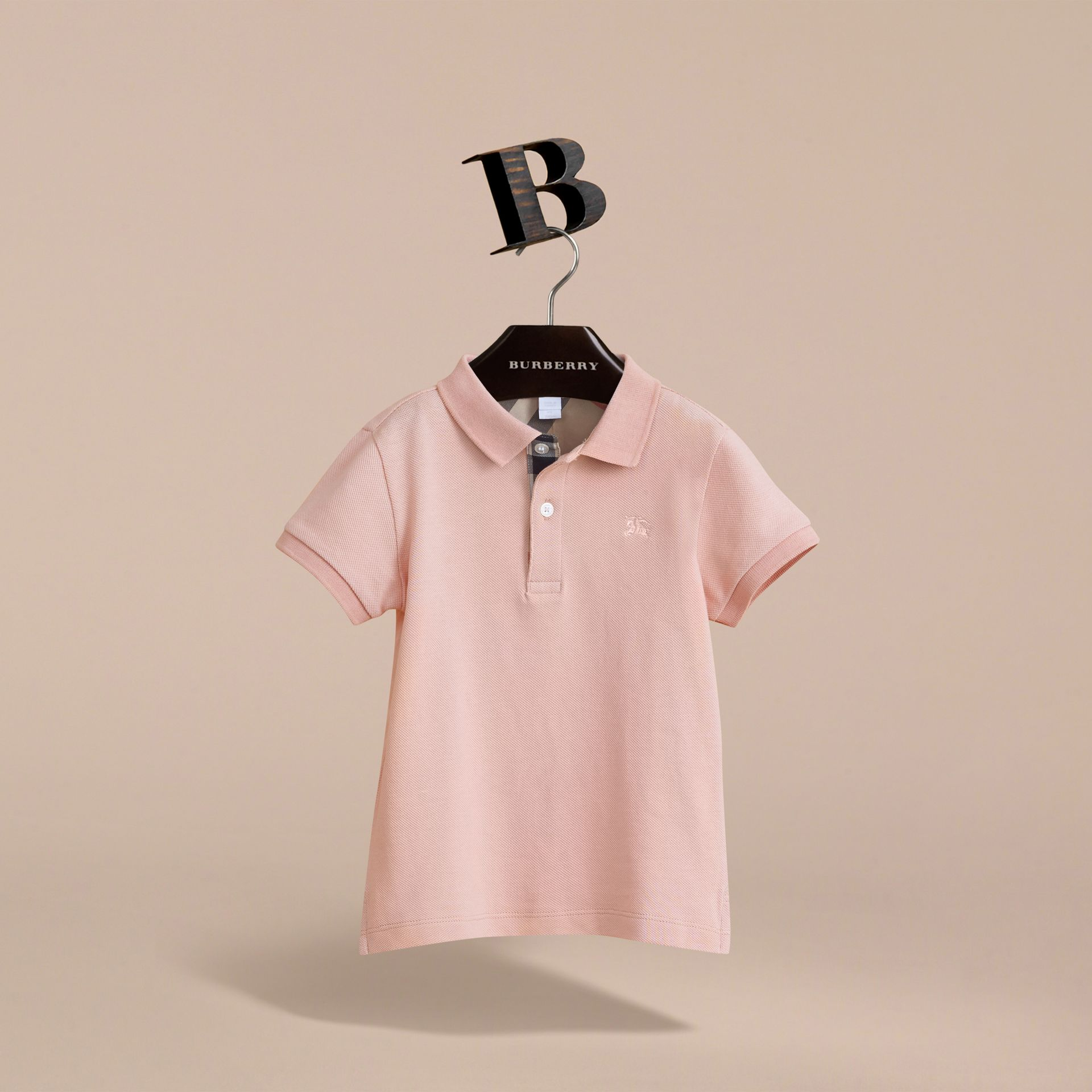 Check Placket Polo Shirt in Chalk Pink - Boy | Burberry - gallery image 3