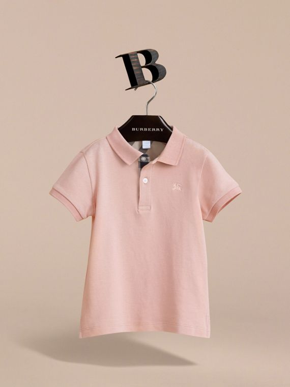 Check Placket Polo Shirt in Chalk Pink - Boy | Burberry - cell image 2