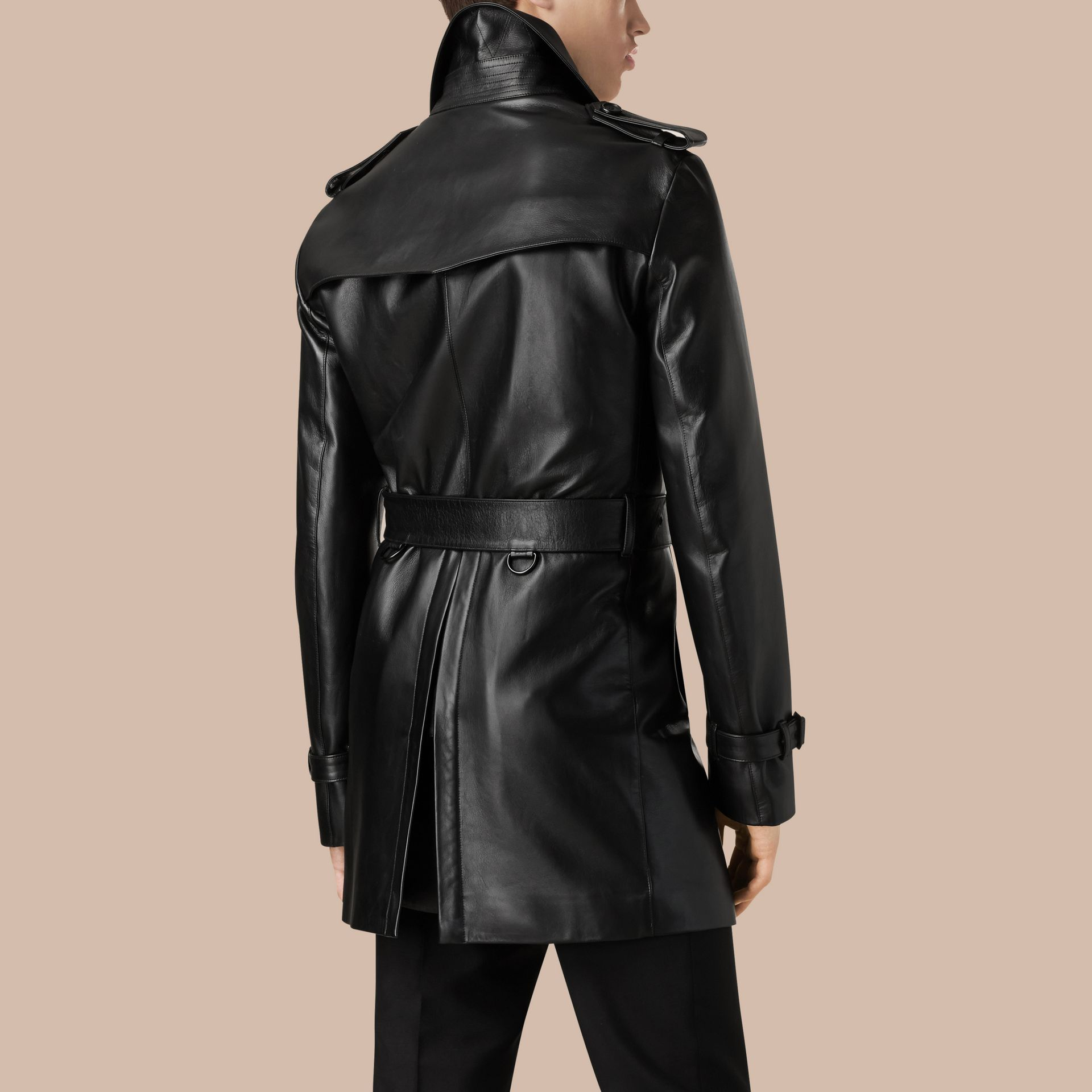 Black Mid-length Lambskin Trench Coat - gallery image 3