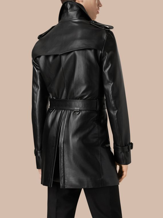 Black Mid-length Lambskin Trench Coat - cell image 2