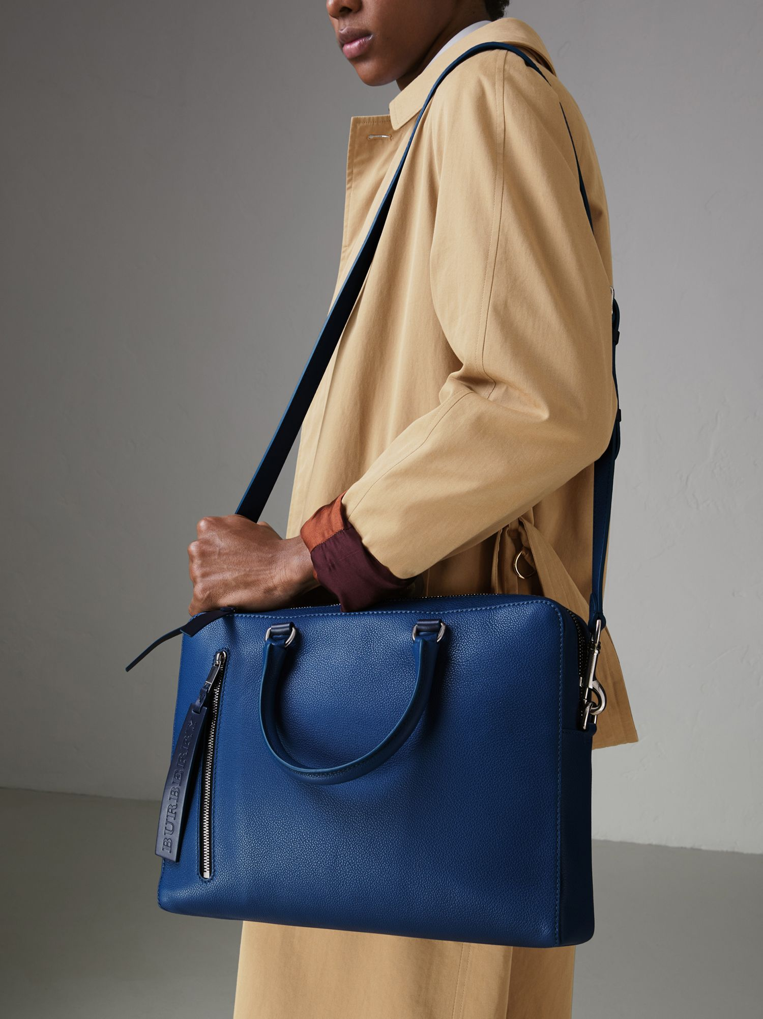 Grainy Leather Briefcase in Bright Ultramarine