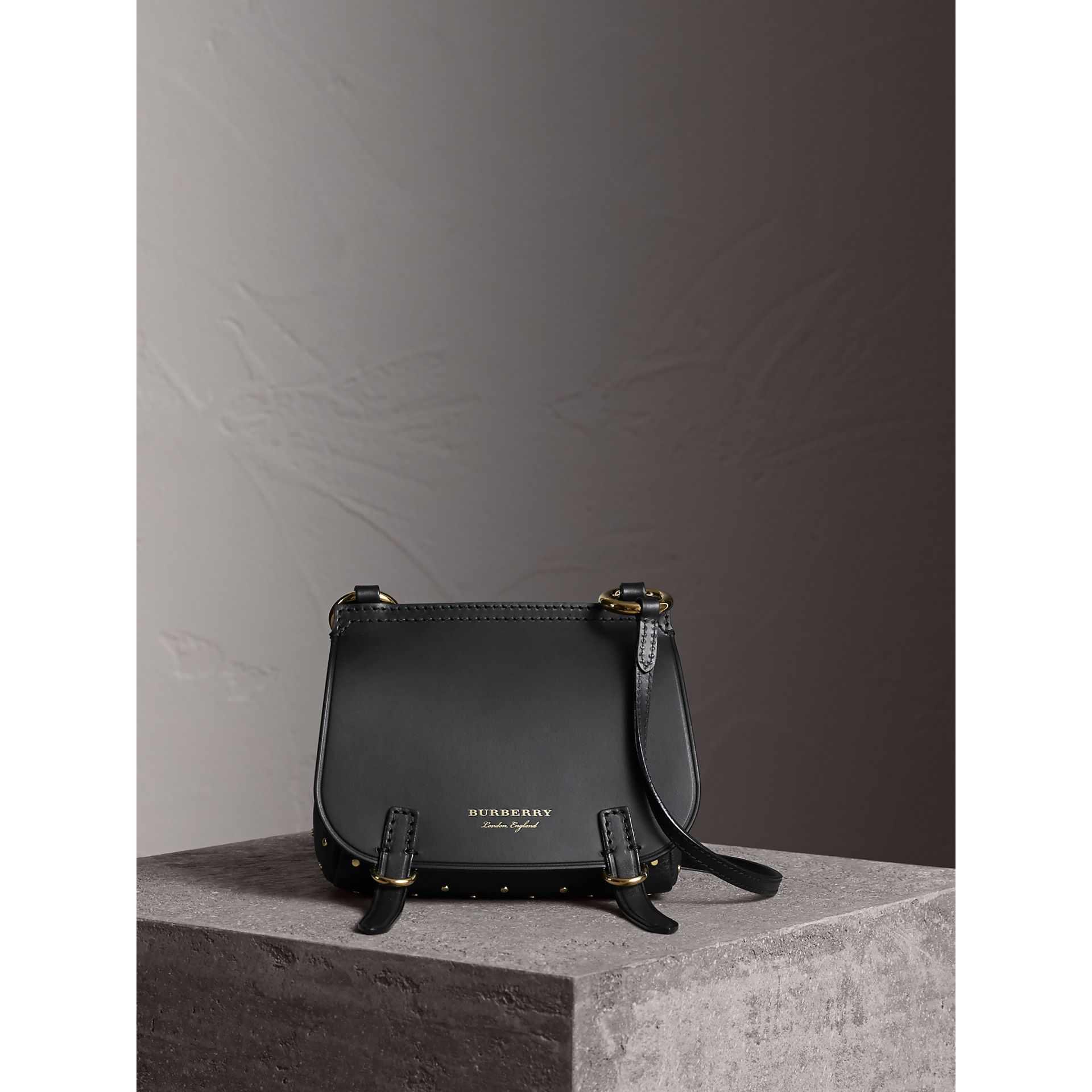 The Baby Bridle Bag in Riveted Leather in Black - Women | Burberry - gallery image 7