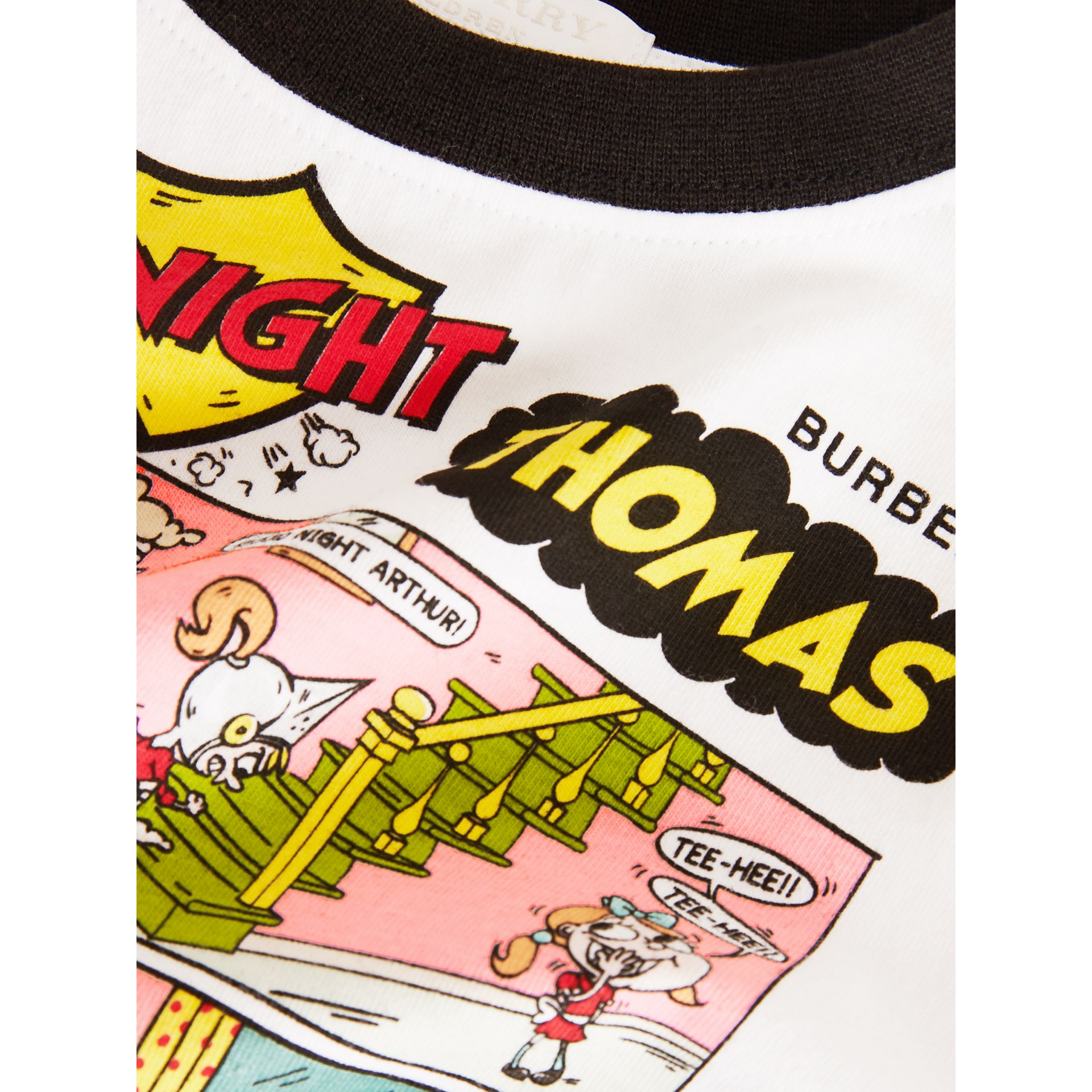 Thomas Bear Comic Print Cotton T-shirt in White | Burberry Australia - gallery image 1
