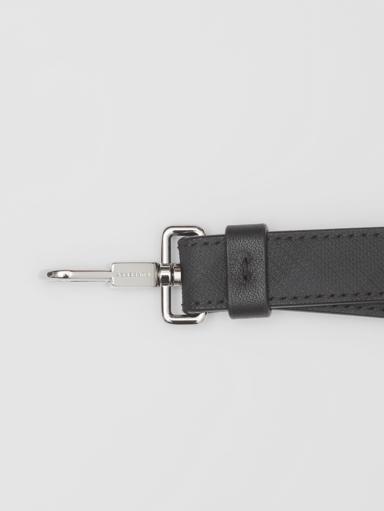 London Check and Leather Lanyard in Dark Charcoal