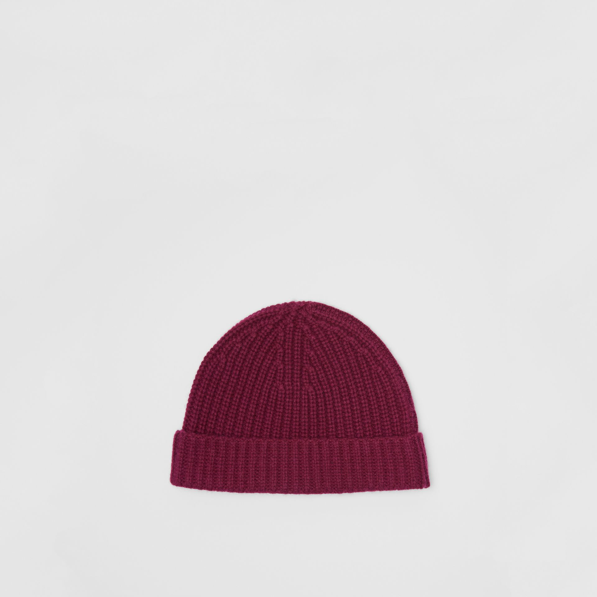 Rib Knit Cashmere Beanie in Dark Elderberry | Burberry - gallery image 4