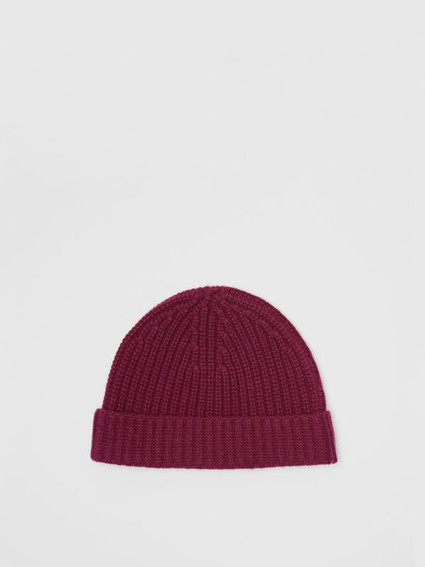 Rib Knit Cashmere Beanie in Dark Elderberry | Burberry - cell image 3