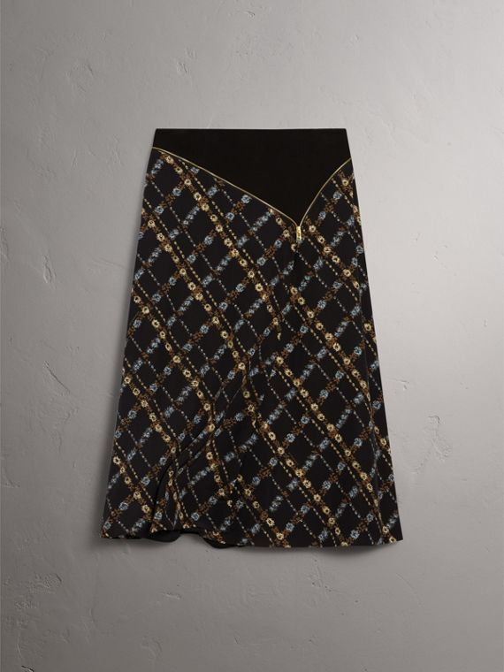 Zip Detail Floral Check Silk Skirt in Black - Women | Burberry - cell image 3