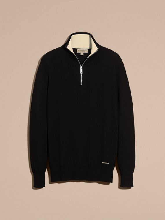 Black Zip-collar Cashmere Sweater Black - cell image 3