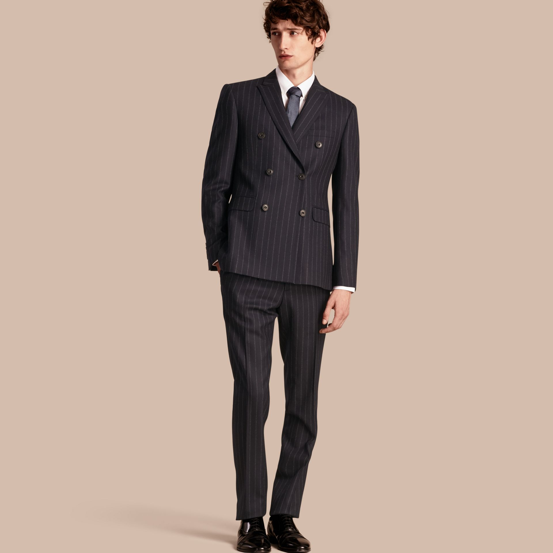Navy Slim Fit Double-breasted Pinstripe Wool Suit - gallery image 1
