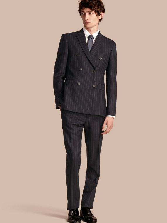 Slim Fit Double-breasted Pinstripe Wool Suit