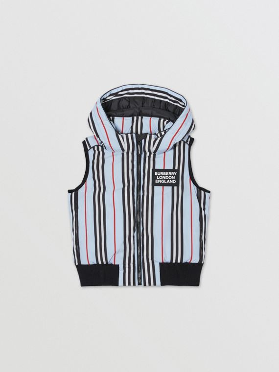 Detachable Hood Icon Stripe Down-filled Gilet in Pale Blue
