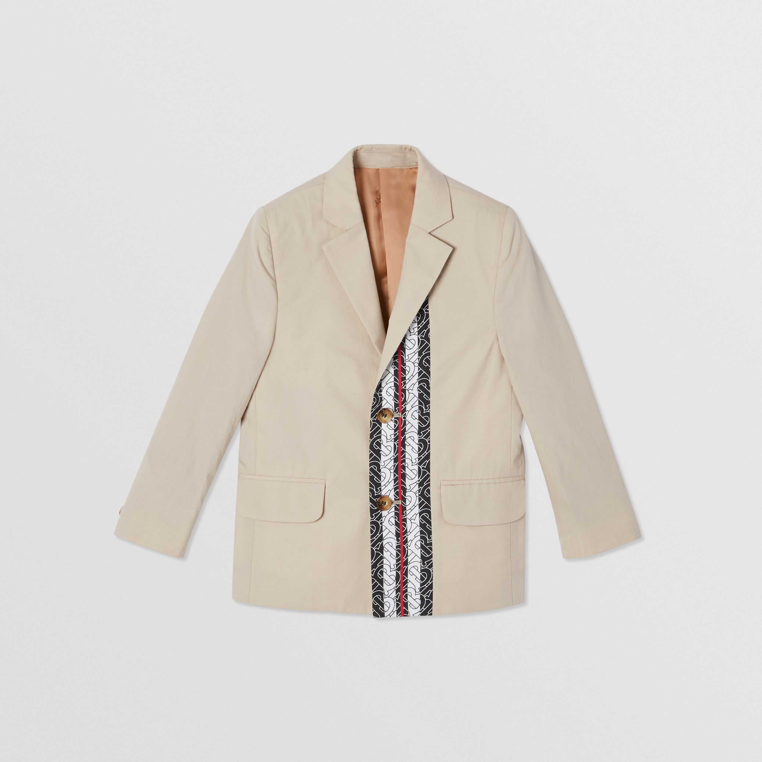 Monogram Stripe Print Cotton Blazer in Stone | Burberry - 1