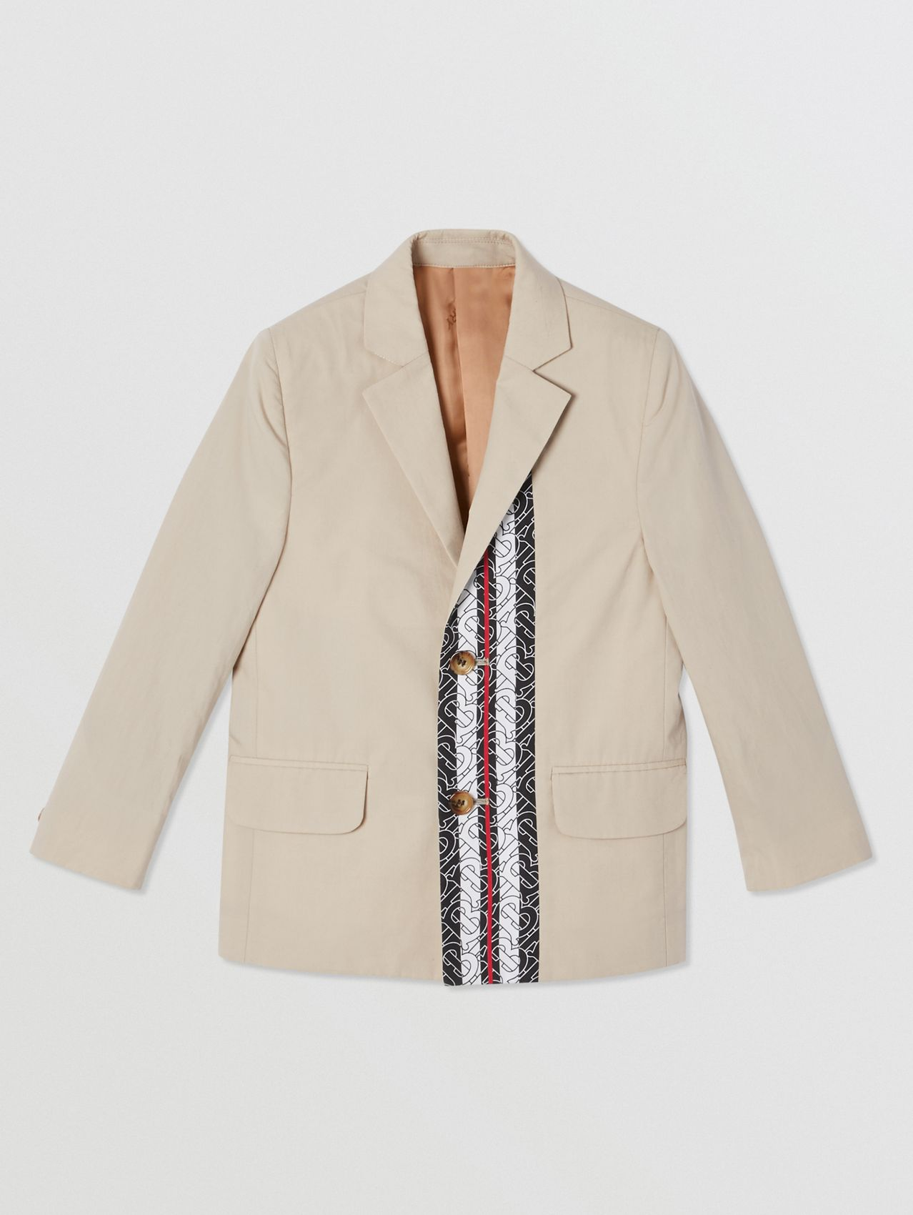 Monogram Stripe Print Cotton Blazer (Stone)