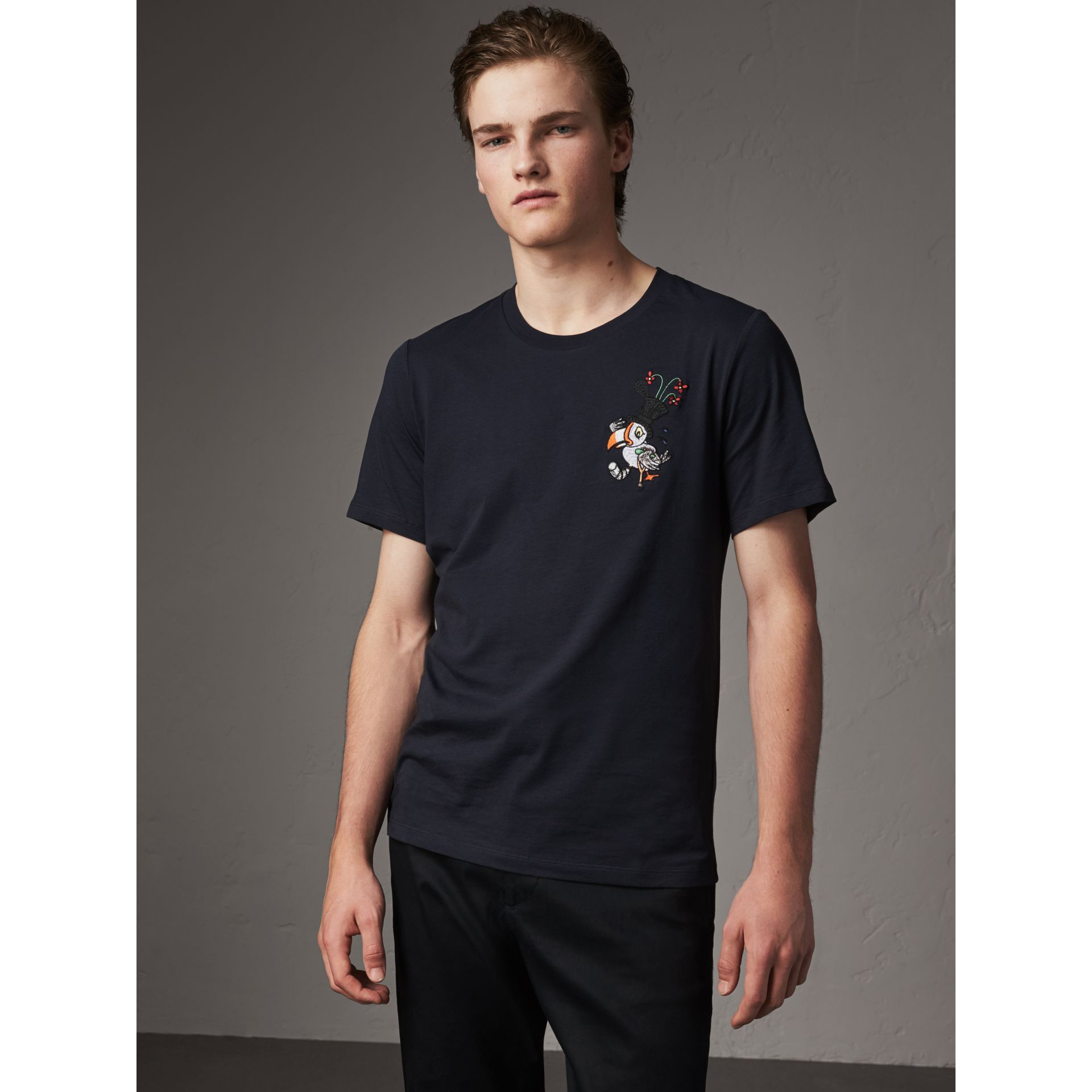 Sketch Appliqué Cotton T-shirt in Navy - Men | Burberry United Kingdom - gallery image 1