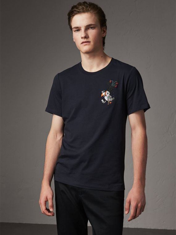 Sketch Appliqué Cotton T-shirt in Navy