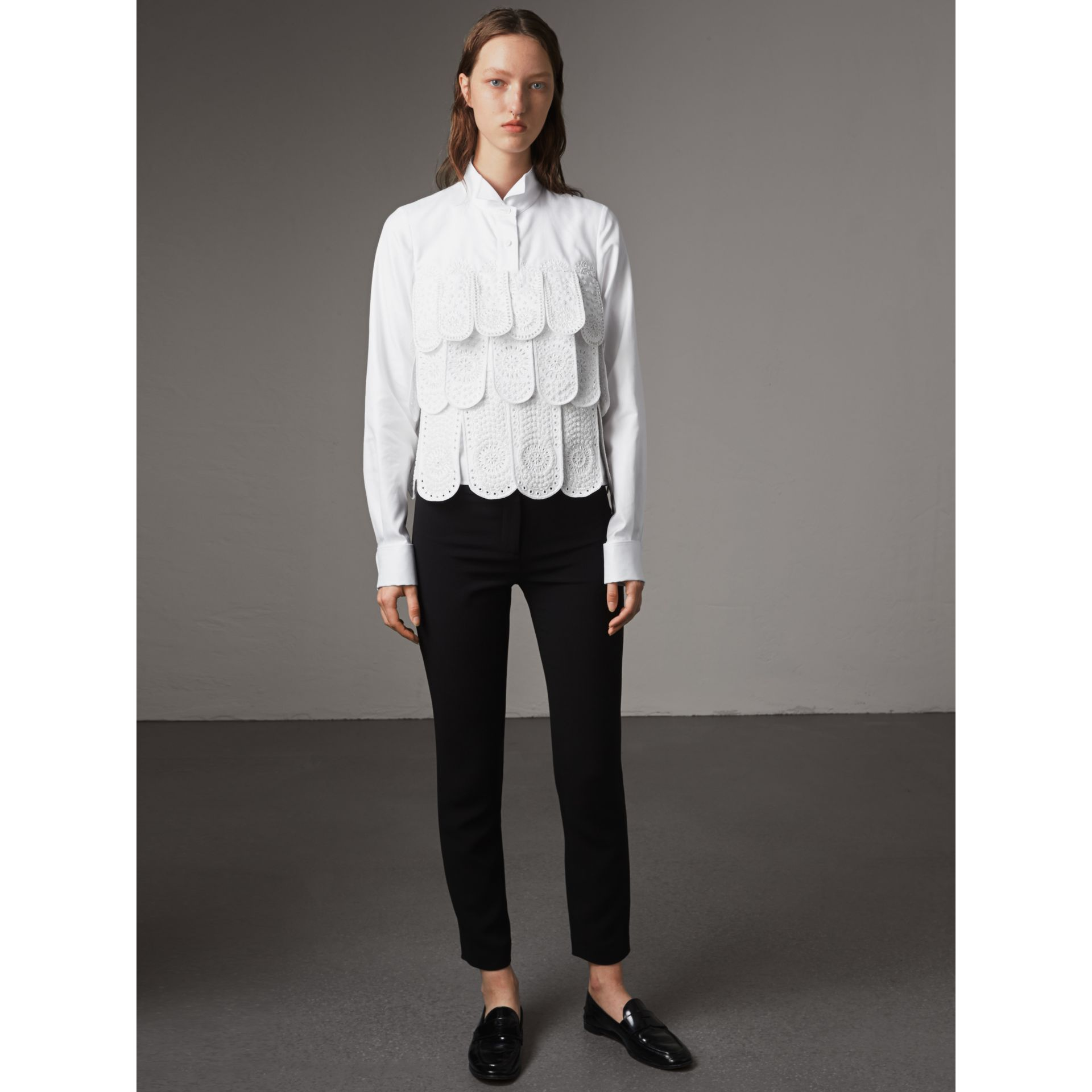 Scalloped Tier Embellished Cotton Shirt in White - Women | Burberry - gallery image 6