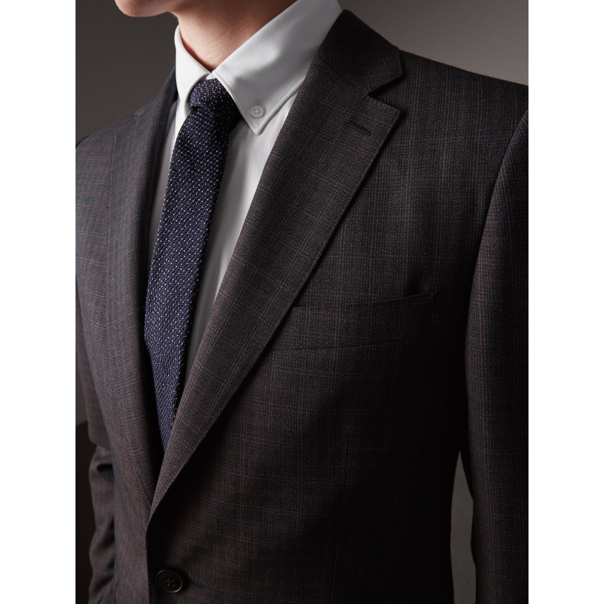 Soho Fit Check Wool Suit in Blackcurrant - Men | Burberry - gallery image 1