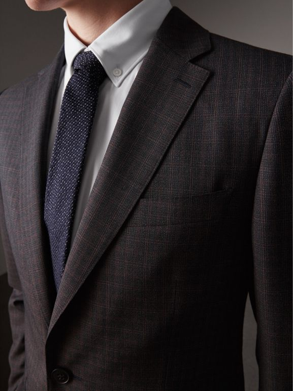 Soho Fit Check Wool Suit in Blackcurrant - Men | Burberry - cell image 1
