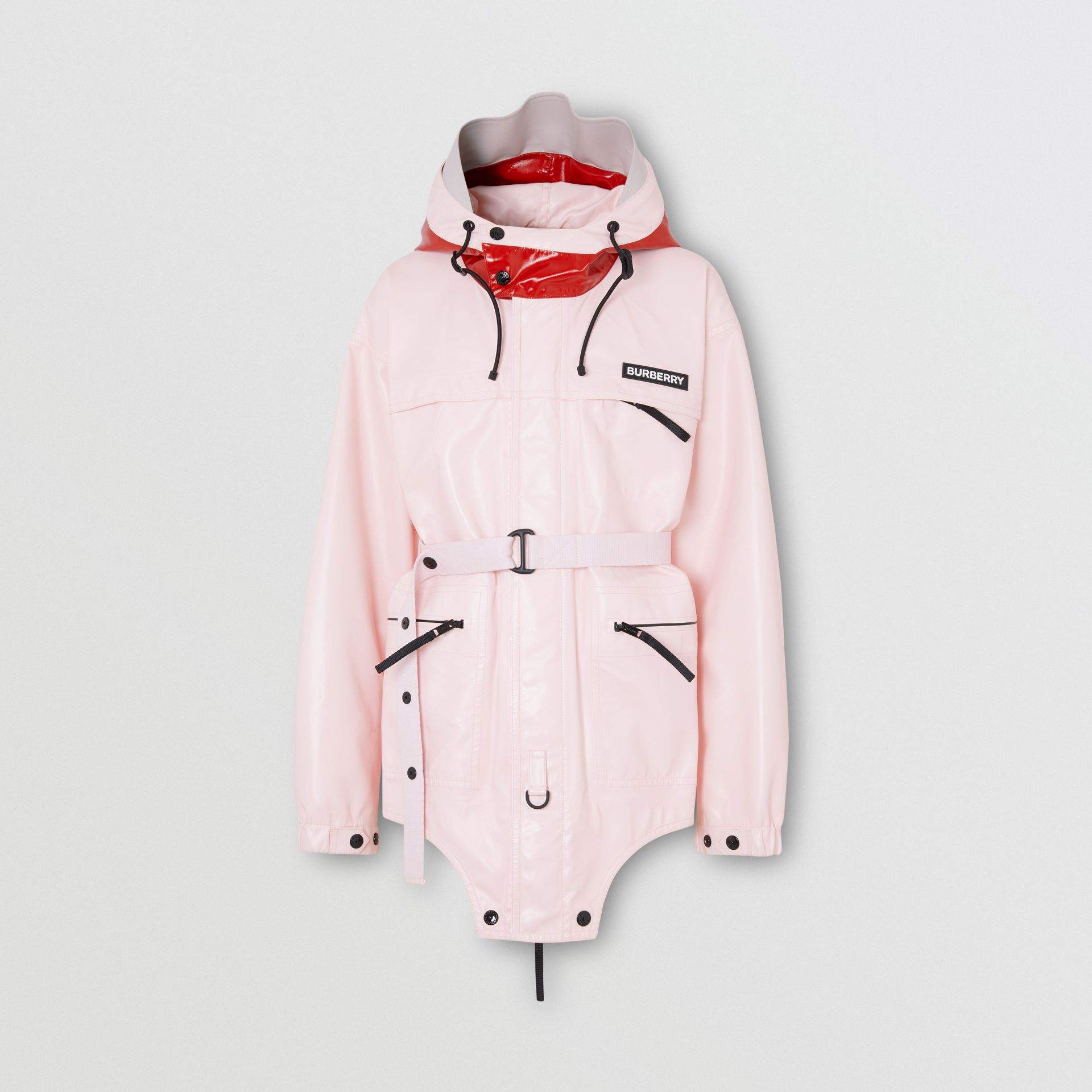 Cut-out Hem Two-tone Coated Nylon Parka in Pale Pink - Men | Burberry - gallery image 3