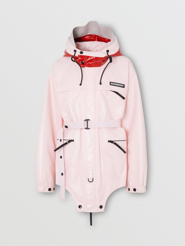 Cut-out Hem Two-tone Coated Nylon Parka in Pale Pink - Men | Burberry Australia - cell image 3