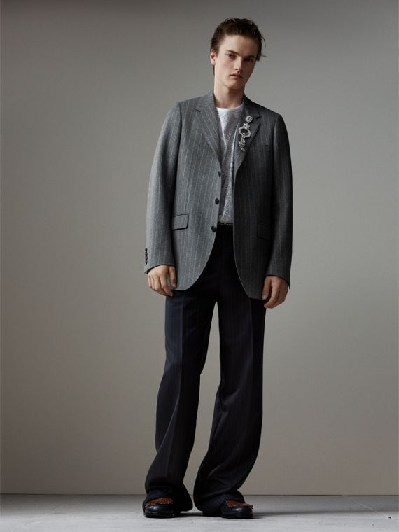 English Pinstripe Wool Flannel Tailored Jacket in Mid Grey