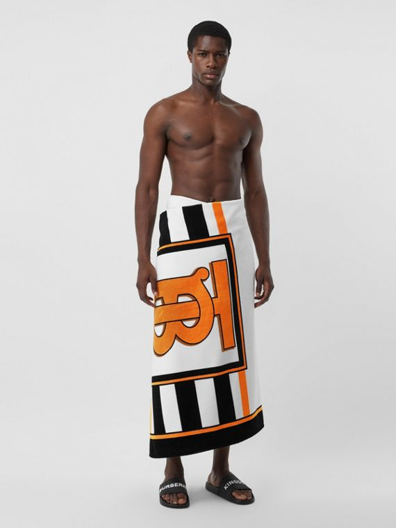 Monogram and Icon Stripe Print Cotton Towel in White