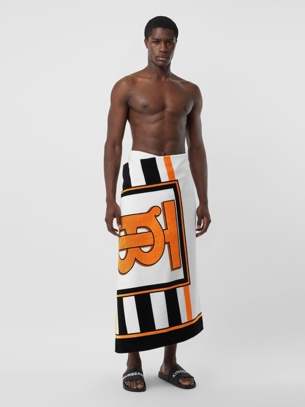Monogram and Icon Stripe Print Cotton Towel in White | Burberry Singapore - cell image 3