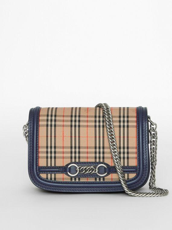 Borsa The Link con motivo tartan del 1983 e finiture in pelle (Blu Inchiostro)