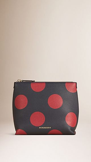 Dot Print Grainy Leather Pouch