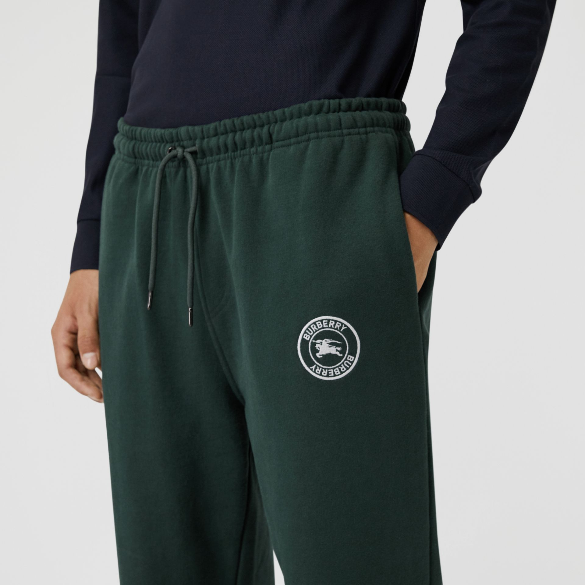 Embroidered Logo Jersey Trackpants in Forest Green - Men | Burberry Australia - gallery image 1