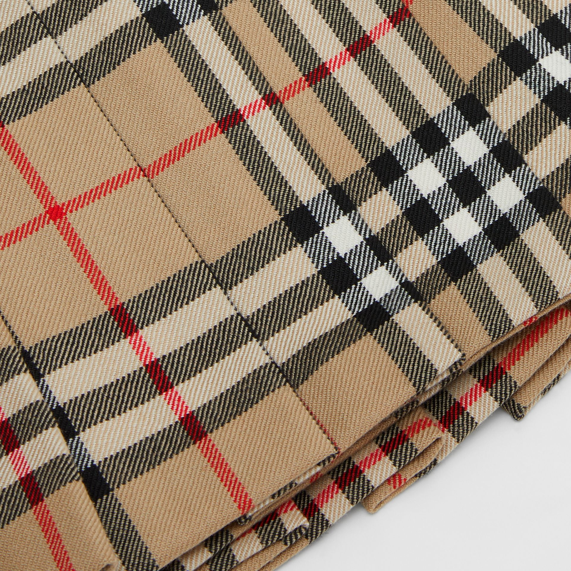 Vintage Check Wool Pleated Wrap Skirt in Archive Beige - Children | Burberry - gallery image 1