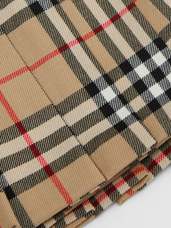 Vintage Check Wool Pleated Wrap Skirt in Archive Beige - Children | Burberry - cell image 1