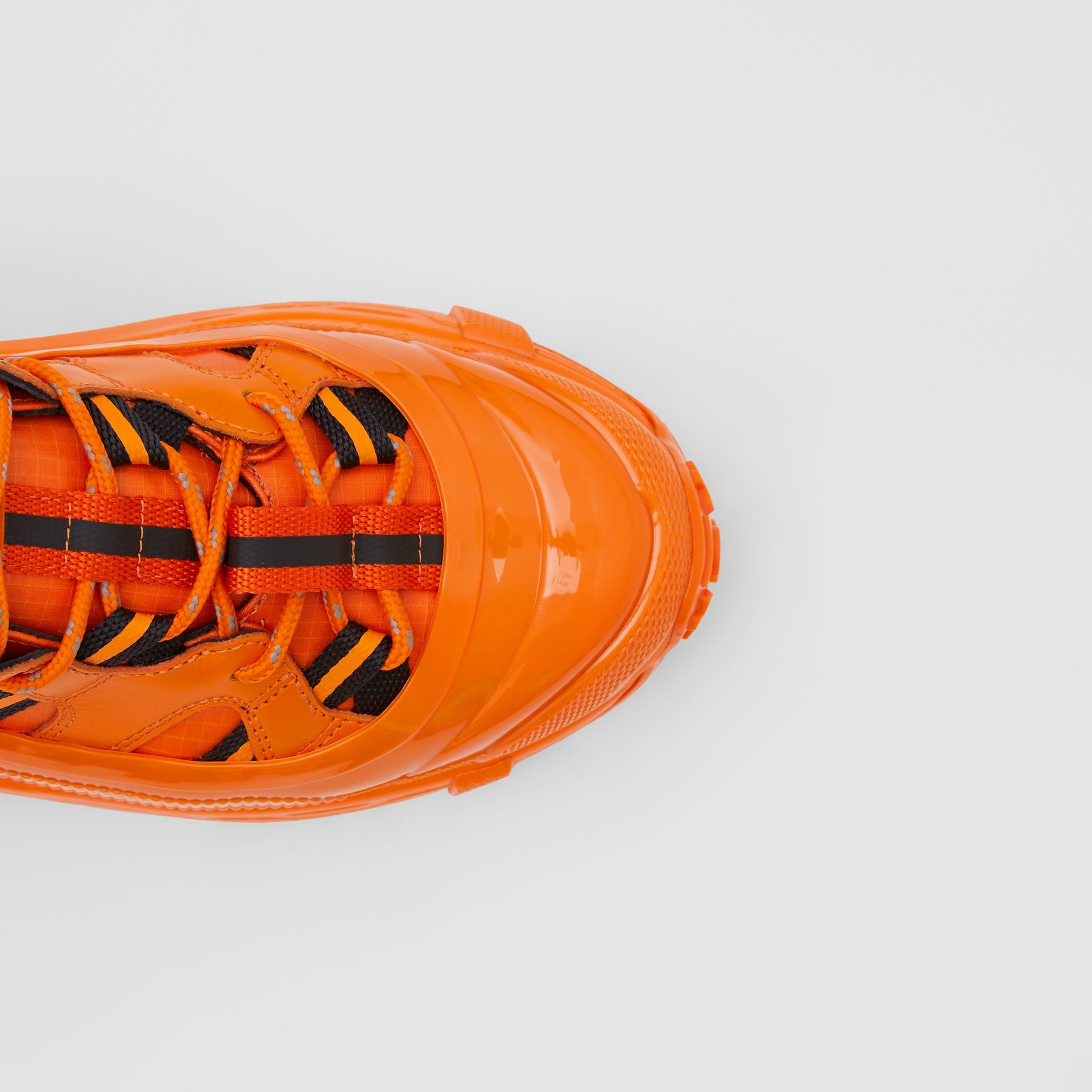 Leather and Nylon Arthur Sneakers in Bright Orange - Women | Burberry - gallery image 1
