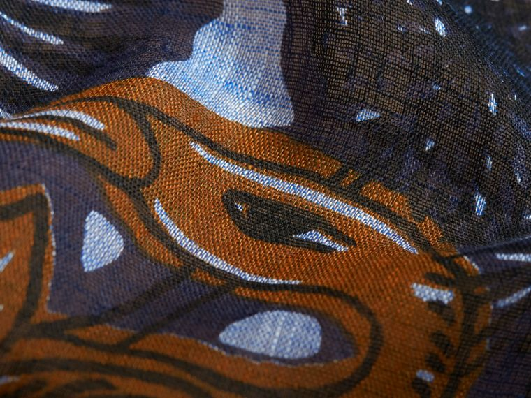 Beasts Print and Check Linen Scarf in Chalk Blue | Burberry - cell image 1