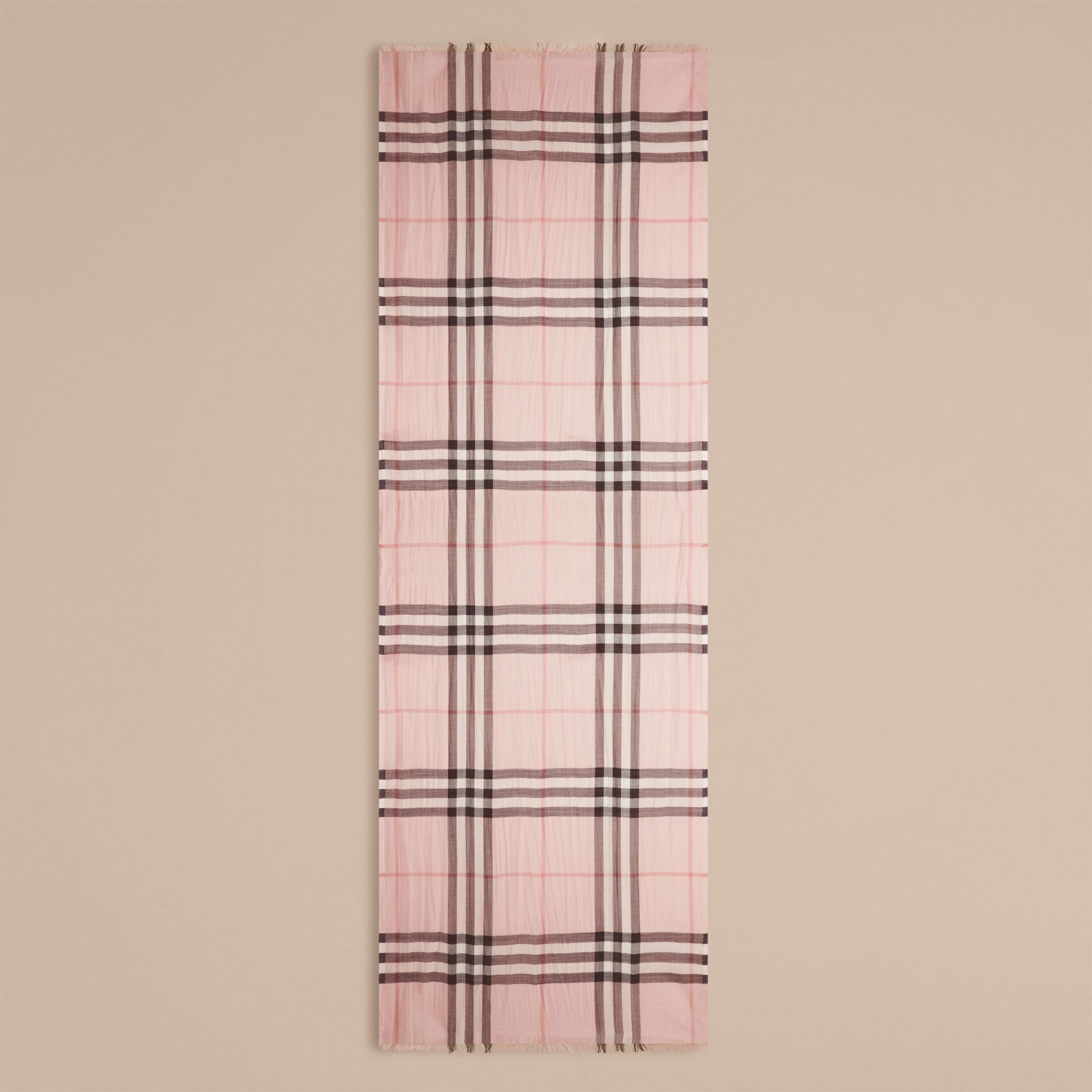 Lightweight Check Wool and Silk Scarf Ash Rose - gallery image 4