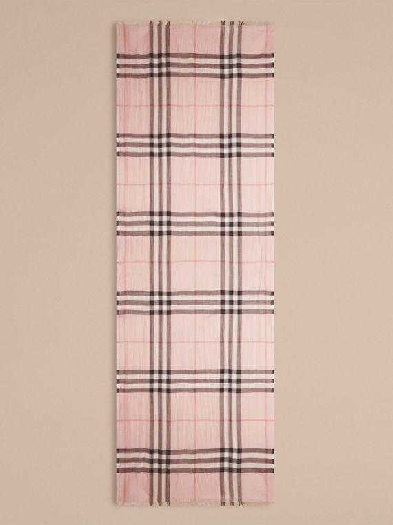 Lightweight Check Wool and Silk Scarf in Ash Rose - cell image 3