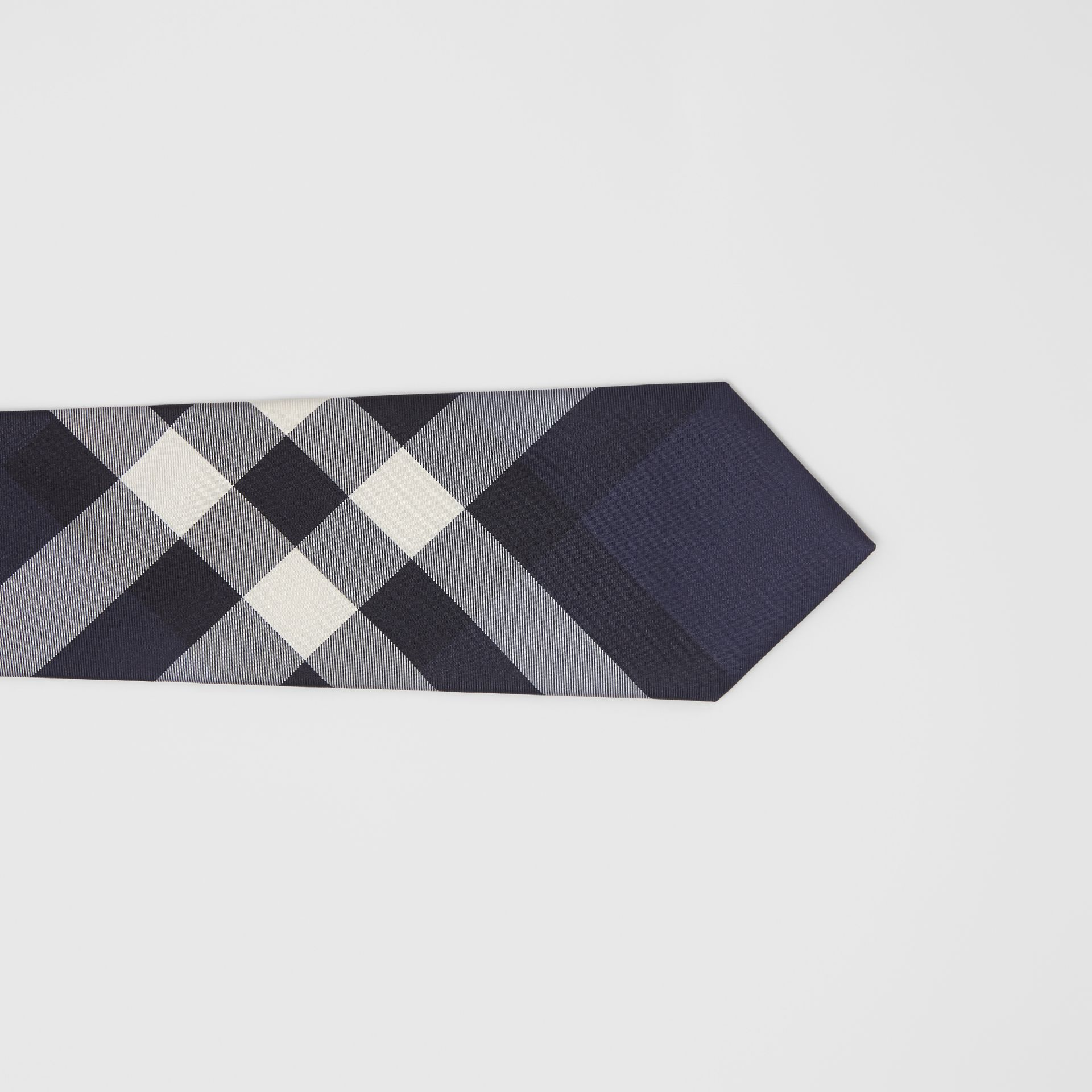Classic Cut Check Silk Tie in Navy - Men | Burberry United Kingdom - gallery image 1